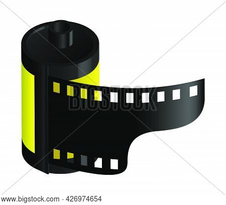 Isometric Cylinder With Old 35 Mm Photo Film. World Photography Day August 19th. Realistic 3d Vector