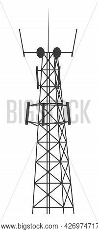 Transmission Cellular Tower. Mobile And Radio Communications Tower With Antennas For Wireless Connec