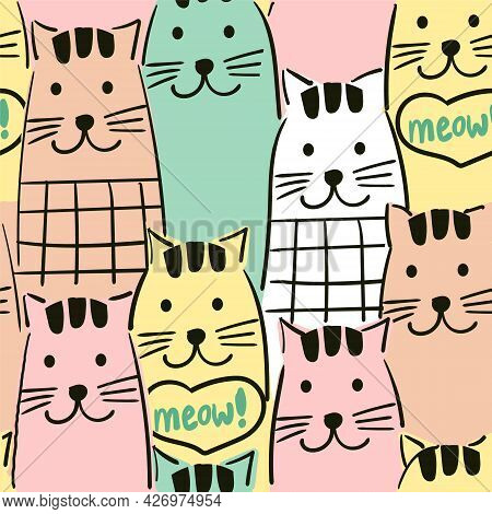 Seamless Pattern With Colourful Cats. Vector Background