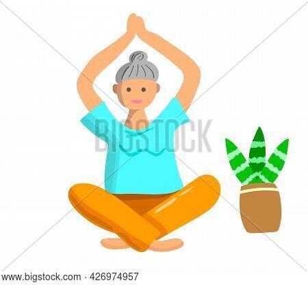 Elderly Woman Doing Yoga Exercises. Sport For Elderly People