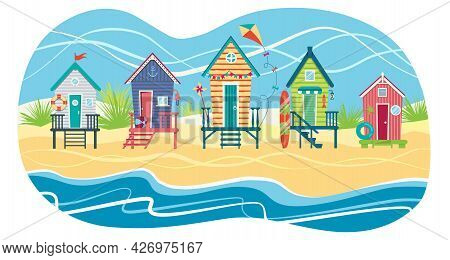 Landscape Of A Row Of Beach Huts Against Sea. Summer Holiday. Vector Flat Illustration Eps10