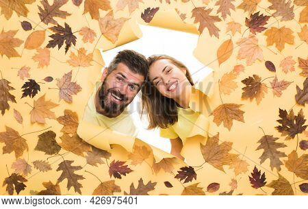 Autumn Couple In Love. Autumn Trend And Vogue. Ready For Text. Autumn Is A Beautiful And Colourful T