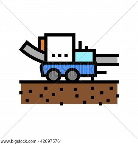 Pipe Layer Machine Color Icon Vector. Pipe Layer Machine Sign. Isolated Symbol Illustration