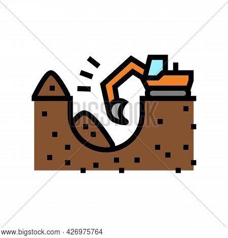 Excavator Excavate Pit For Pipeline Construction Color Icon Vector. Excavator Excavate Pit For Pipel