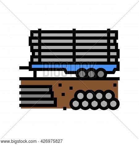 Pipeline On Trailer Color Icon Vector. Pipeline On Trailer Sign. Isolated Symbol Illustration