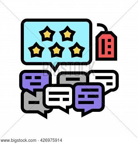 Reviews Reputation Management Color Icon Vector. Reviews Reputation Management Sign. Isolated Symbol