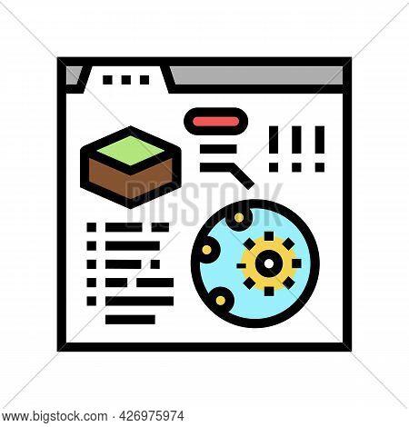 Reading Information Of Soil Testing In Internet Color Icon Vector. Reading Information Of Soil Testi