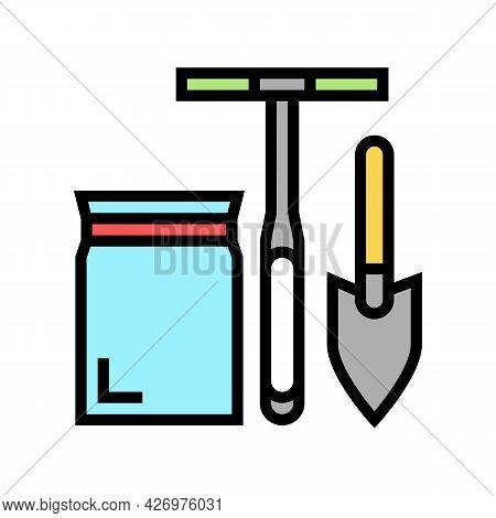 Shovel, Drill And Bag For Soil Testing Color Icon Vector. Shovel, Drill And Bag For Soil Testing Sig