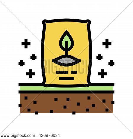 Seeding Organic Soil Color Icon Vector. Seeding Organic Soil Sign. Isolated Symbol Illustration