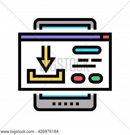 Download Content Ugc Color Icon Vector. Download Content Ugc Sign. Isolated Symbol Illustration