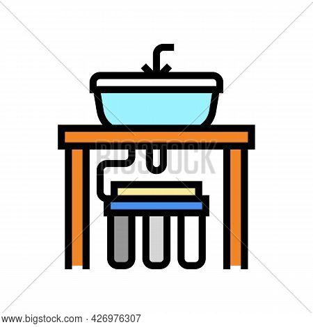Water Filter Under Sink Color Icon Vector. Water Filter Under Sink Sign. Isolated Symbol Illustratio