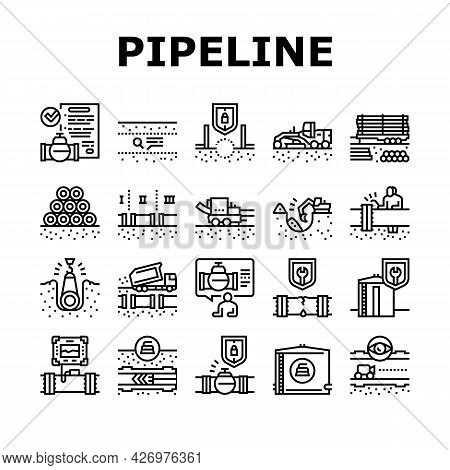 Pipeline Construction Collection Icons Set Vector. Installation And Repair Pipeline Construction, En