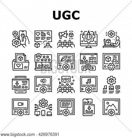 User Generated Content Collection Icons Set Vector. Video And Audio, Images And Text User Generated