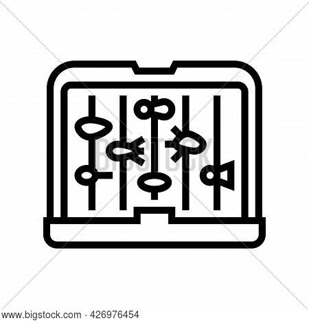 Fly Fishing Box Line Icon Vector. Fly Fishing Box Sign. Isolated Contour Symbol Black Illustration