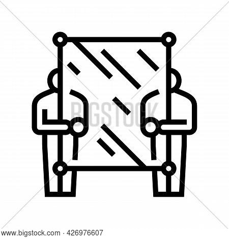 Glass Carrying Workers Line Icon Vector. Glass Carrying Workers Sign. Isolated Contour Symbol Black