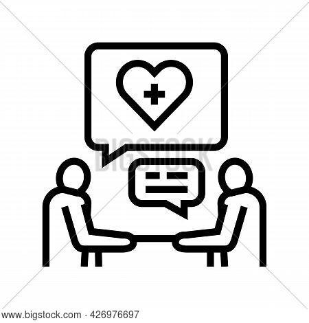 Consultation Homecare Service Line Icon Vector. Consultation Homecare Service Sign. Isolated Contour
