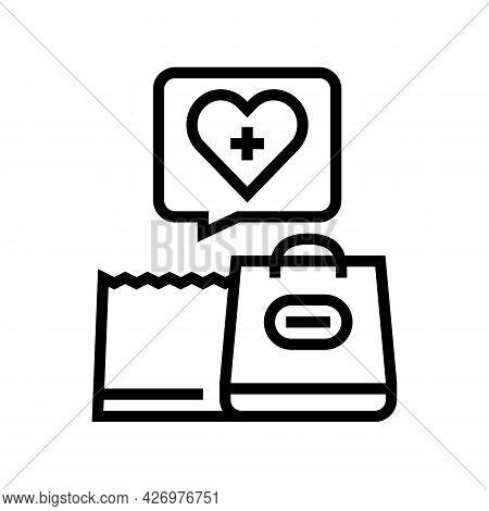 Grocery Shopping Homecare Service Line Icon Vector. Grocery Shopping Homecare Service Sign. Isolated