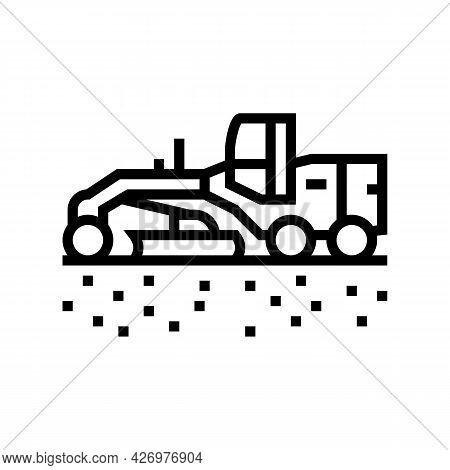 Tractor Prepare Space For Pipeline Construction Line Icon Vector. Tractor Prepare Space For Pipeline
