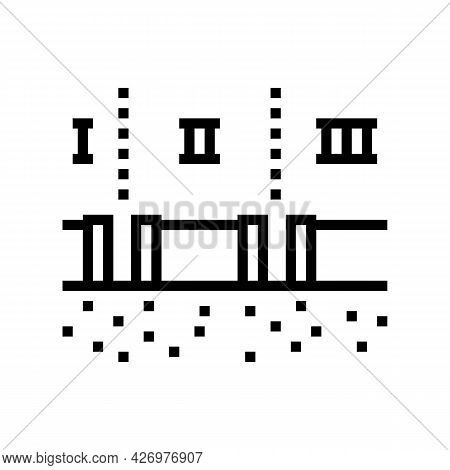 Stages Of Pipeline Construction Line Icon Vector. Stages Of Pipeline Construction Sign. Isolated Con