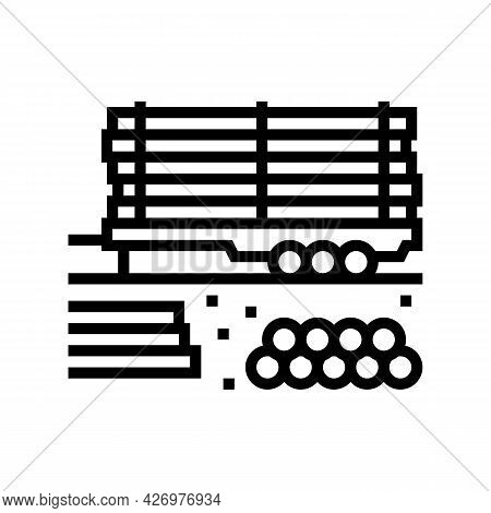 Pipeline On Trailer Line Icon Vector. Pipeline On Trailer Sign. Isolated Contour Symbol Black Illust