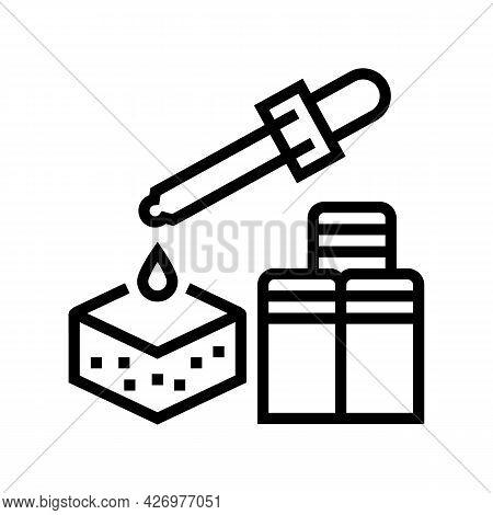 Chemical Pesticides Soil Line Icon Vector. Chemical Pesticides Soil Sign. Isolated Contour Symbol Bl