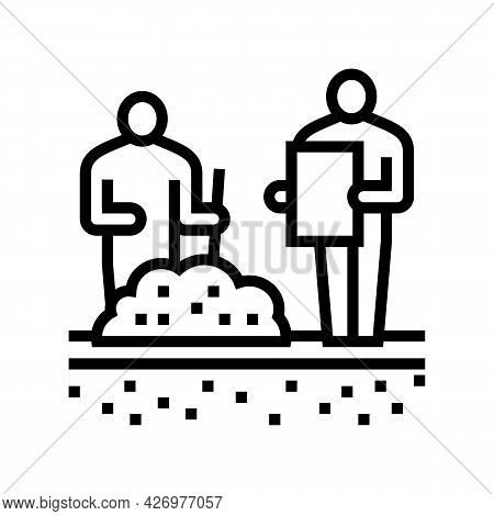 Worker Shovel Soil For Analyzing Line Icon Vector. Worker Shovel Soil For Analyzing Sign. Isolated C