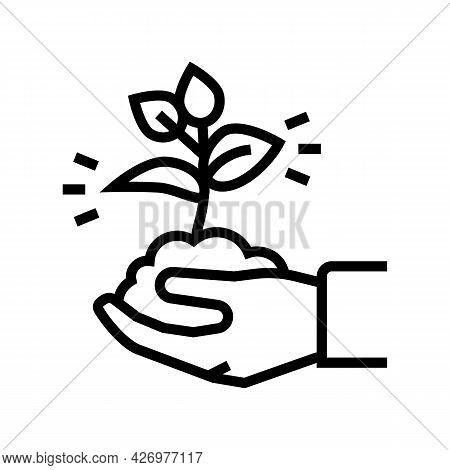 Nature Soil Holding Agricultural Worker Line Icon Vector. Nature Soil Holding Agricultural Worker Si