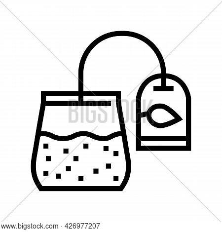Sachet Tea Line Icon Vector. Sachet Tea Sign. Isolated Contour Symbol Black Illustration