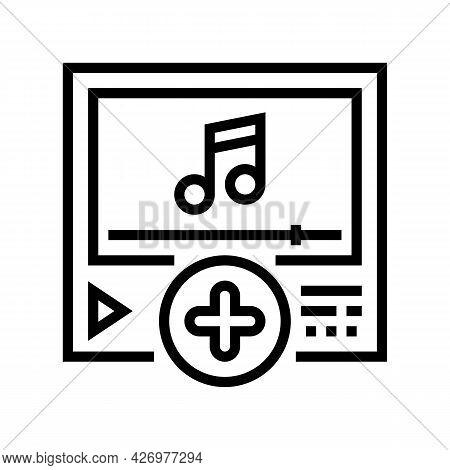 Music Content Ugc Line Icon Vector. Music Content Ugc Sign. Isolated Contour Symbol Black Illustrati