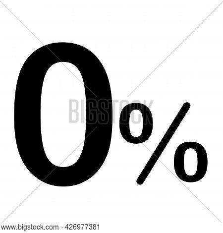 Zero Percent Icon On White Background. 0 Percents Sign. No Comission Symbol. Flat Style.