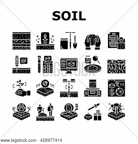 Soil Testing Nature Collection Icons Set Vector. Soil Testing Equipment And Ph Device, Laboratory An