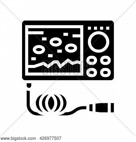 Underwater Ice Fishing Camera Glyph Icon Vector. Underwater Ice Fishing Camera Sign. Isolated Contou