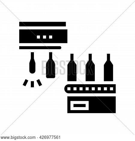 Molding Glass Bottle Conveyor Equipment Glyph Icon Vector. Molding Glass Bottle Conveyor Equipment S