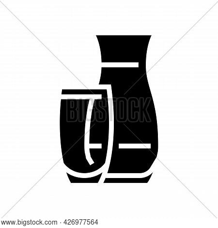 Vase Glass Production Glyph Icon Vector. Vase Glass Production Sign. Isolated Contour Symbol Black I