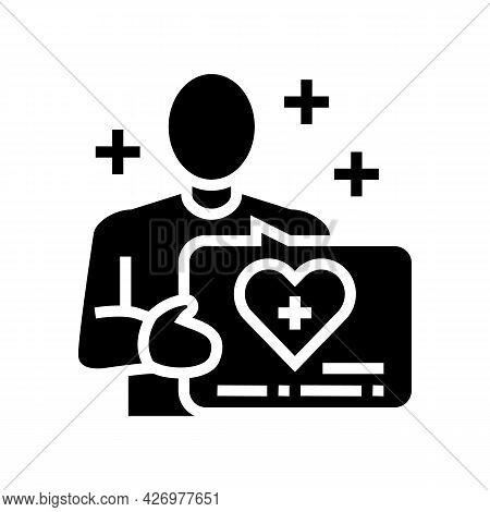 Volunteer Homecare Service Glyph Icon Vector. Volunteer Homecare Service Sign. Isolated Contour Symb
