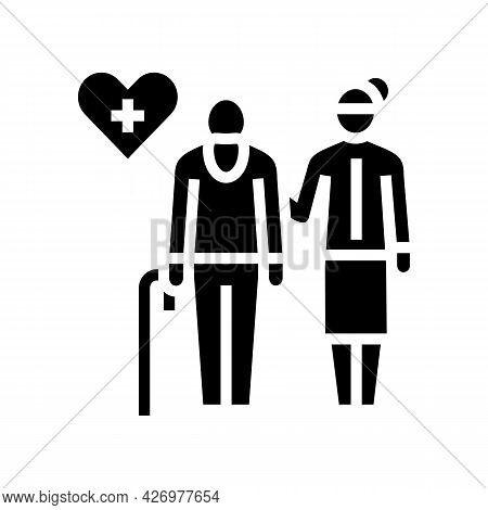 Helping And Caring For Elderly People Glyph Icon Vector. Helping And Caring For Elderly People Sign.