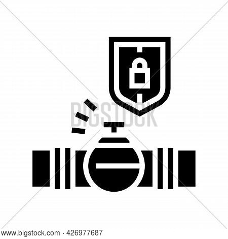 Protection System Of Pipeline Construction Glyph Icon Vector. Protection System Of Pipeline Construc