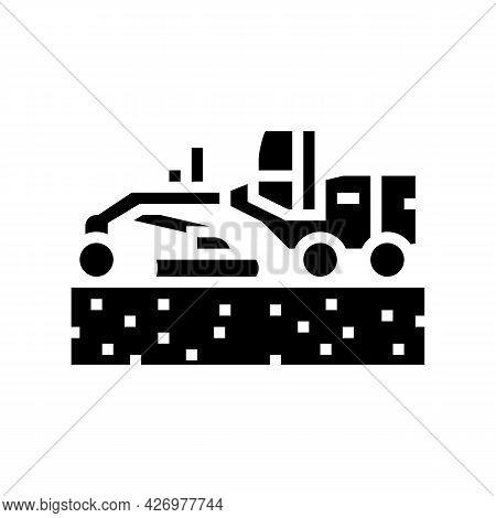 Tractor Prepare Space For Pipeline Construction Glyph Icon Vector. Tractor Prepare Space For Pipelin