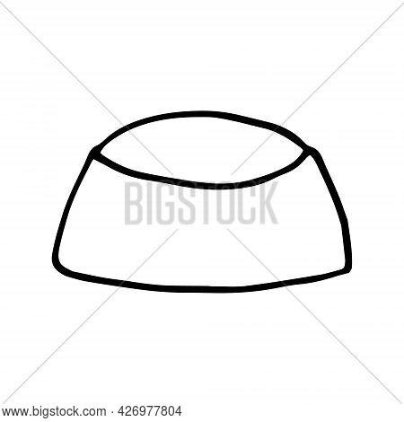 Bowl Pet Food Icon. Hand Drawn Doodle. Vector, Scandinavian, Nordic Minimalism Monochrome