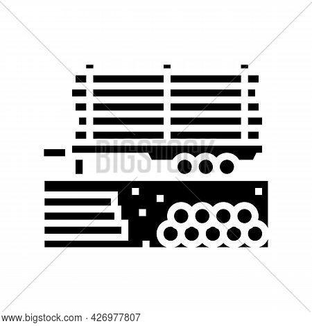 Pipeline On Trailer Glyph Icon Vector. Pipeline On Trailer Sign. Isolated Contour Symbol Black Illus