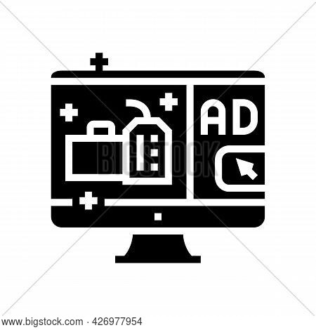 Online Advertising Glyph Icon Vector. Online Advertising Sign. Isolated Contour Symbol Black Illustr