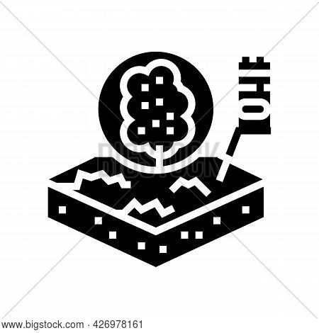 Tree Growth On Organic Soil Glyph Icon Vector. Tree Growth On Organic Soil Sign. Isolated Contour Sy
