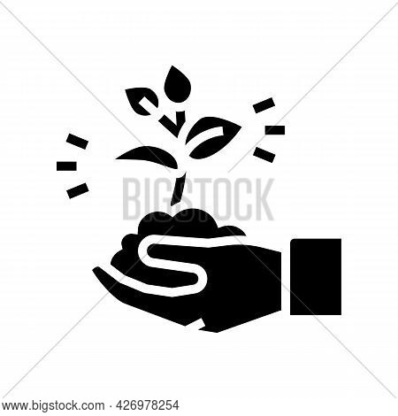 Nature Soil Holding Agricultural Worker Glyph Icon Vector. Nature Soil Holding Agricultural Worker S