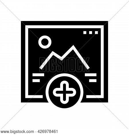 Adding Image Social Media Ugc Glyph Icon Vector. Adding Image Social Media Ugc Sign. Isolated Contou