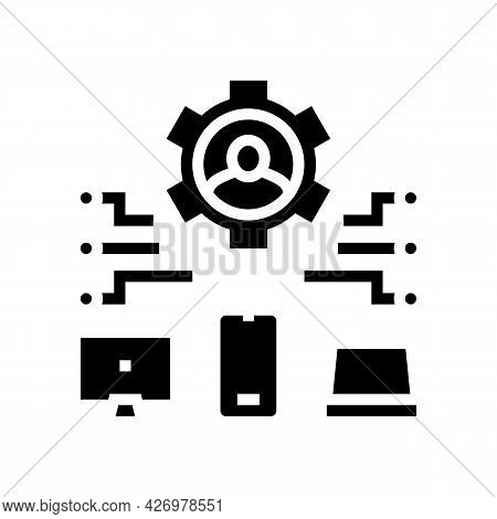 Devices Connection Of User Ugc Glyph Icon Vector. Devices Connection Of User Ugc Sign. Isolated Cont