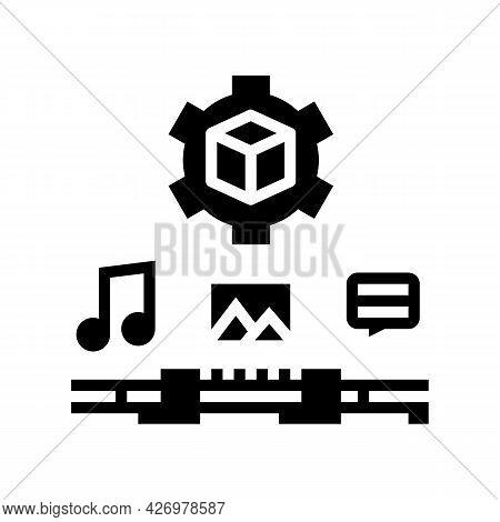 Settings Of Audio, Image And Test Ugc Glyph Icon Vector. Settings Of Audio, Image And Test Ugc Sign.