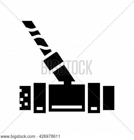 Pipeline Water Filter Glyph Icon Vector. Pipeline Water Filter Sign. Isolated Contour Symbol Black I