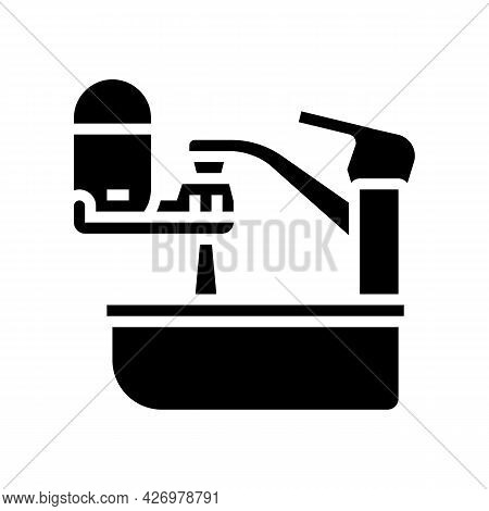 Portable Water Filter For Faucet Glyph Icon Vector. Portable Water Filter For Faucet Sign. Isolated