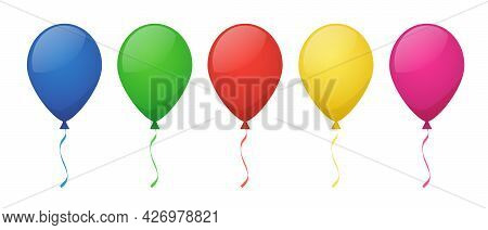 Color Balloons For Happy Birthday Party. Vector Cartoon Set Of Flying Inflatable Air Balloons For Fe