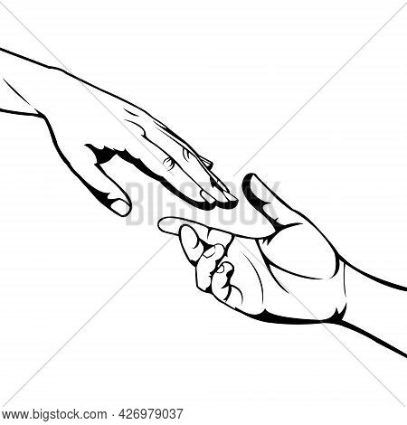Hands Illustration. Take And Give. Open Donation. Helping Each Other. Giving Help. Mutual Respect An